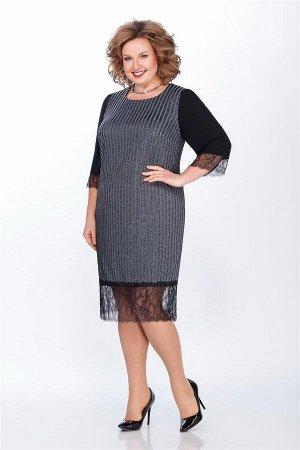 Платье Платье LaKona 1265 чёрный с серебром  Рост: 164 см.  Нарядное платье полуприлегающего силуэта ,выполнено из плотной полупрозрачной сетки в полоску с люрексовой нитью, под ней чехол из тонкого