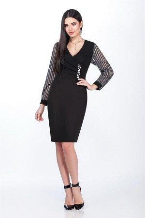 Платье Платье LaKona 1266 чёрный  Состав ткани: ПЭ-95%; Спандекс-5%;  Рост: 164 см.  Маленькое черное платье должно присутствовать в каждом женском гардеробе. Платье подчеркивает фигуру, длина до сер