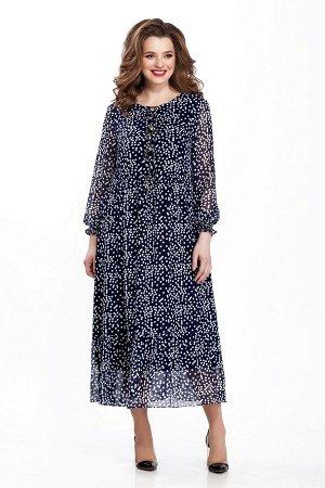 Платье Платье TEZA 109 принт горох  Рост: 164 см.  Платье прямого силуэта из тонкой струящейся ткани, отрезное по талии, юбка со сборкой, низ платья оформлен широким воланом со сборкой. Платье с втач