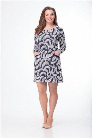 Платье ANELLI 192 синий/перья