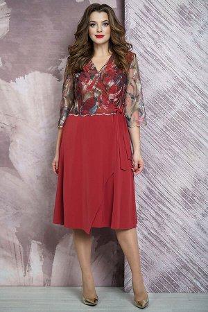 Платье Платье Белтрикотаж 6875 красный  Состав: Вискоза-18%; ПЭ-78%; Спандекс-4%; Сезон: Осень-Зима  Платье прилегающего силуэта, отрезное по линии талии, длиной ниже уровня колена.Перед с эффектом н