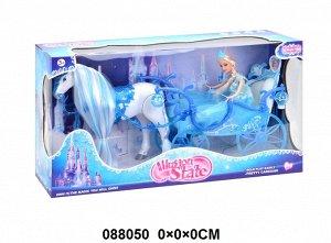 Кукла с каретой и лошадью на бат.,свет.,звук.,кор. 56*30*19см