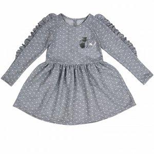 Платье Красивое платье для маленьких модниц. Украшено принтом из фольги. Интересный покрой. Материал: 70% хлопок, 30% п/э, футер меланж жаккард