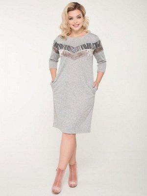 Платье Платье полуприлегающего силуэта из меланжевого трикотажа серого цвета со вставками из бархата и ткани с геометрическим принтом. - круглая горловина на бейке - рукава втачные, длиной 3/4 - по пе