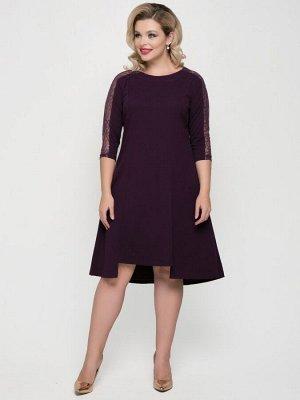Платье Платье ассиметричной длины однотонной расцветки, со вставками на рукавах из сетки с пайетками. - горловина круглая на обтачке - рукава втачные, длиной 3/4 - потайная застежка-молния в среднем ш