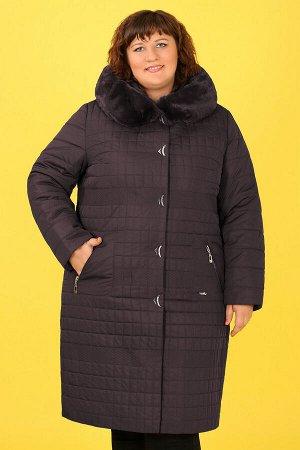 0У53 1807-2 Пальто зимнее с капюшоном+ меховая отделкатемно-сиреневый