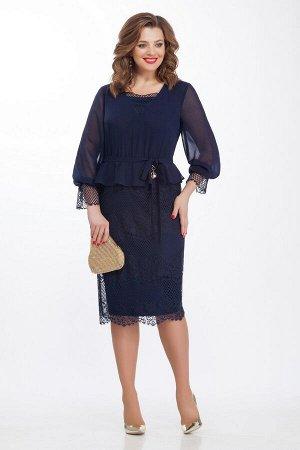 Платье Платье TEZA 118 темно-синее  Состав ткани: Вискоза-20%; ПЭ-80%;  Рост: 164 см.  Нарядное платье приталенного силуэта с втачным рукавом. Платье отрезное по линии талии. Лиф и рукава из прозрачн