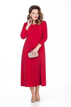 Платье Платье TEZA 271 красный  Состав ткани: Вискоза-20%; ПЭ-76%; Эластан-4%;  Рост: 164 см.  Нарядное платье из приталенного мерцающего трикотажного полотна с втачными рукавами. Рукава прямые, зауж