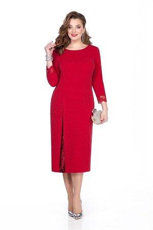 Платье Платье TEZA 273 красный  Состав ткани: Вискоза-20%; ПЭ-76%; Эластан-4%;  Рост: 164 см.  Нарядное платье из мерцающего трикотажного полотна полуприлегающего силуэта с втачными рукавами. Спинка