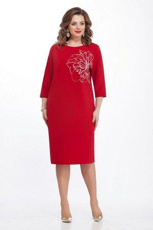 Платье Платье TEZA 124 красное  Состав ткани: Вискоза-20%; ПЭ-76%; Эластан-4%;  Рост: 164 см.  Элегантное платье с цельнокроенным рукавом длиной три четверти. Спинка со средним швом. Горловина спинки