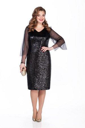 Платье Платье TEZA 274-Р чёрный  Состав ткани: ПЭ-100%;  Рост: 164 см.  Платье полуприлегающего силуэта из ткани из пайеток с втачным рукавом. Рукав их прозрачной сетки двойной, нижний прямой зауженн