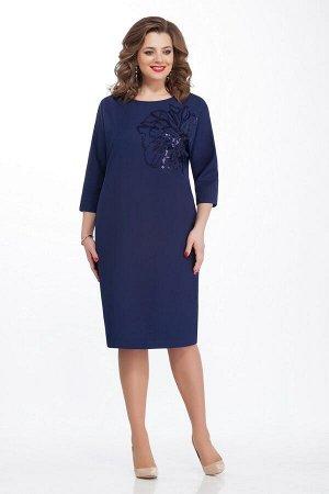 Платье Платье TEZA 125 синее  Состав ткани: Вискоза-20%; ПЭ-76%; Эластан-4%;  Рост: 164 см.  Элегантное платье с целнокроенным рукавом, длиной три четверти. Спинка со средним швом. Горловина спинки д