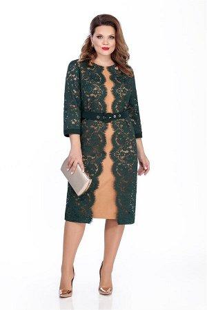 Платье Платье TEZA 284  Состав ткани: Вискоза-20%; ПЭ-80%;  Рост: 164 см.  Нарядное платье прямого силуэта с втачными рукавами. Спинка прямая со средним швом с молнией, внизу шлица. Перед кружевной,