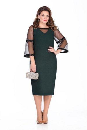 Платье Платье TEZA 285 зелёный  Состав ткани: Вискоза-20%; ПЭ-80%;  Рост: 164 см.  Нарядное платье полуприлегающего силуэта с втачными рукавами. Спинка с талиевыми вытачками и средним швом с молнией,