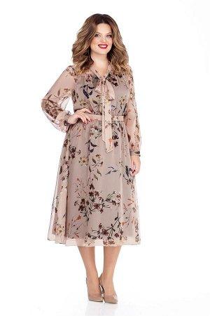 Платье Платье TEZA 290 цветы  Состав ткани: Вискоза-20%; ПЭ-80%;  Рост: 164 см.  Платье приталенного силуэта из прозрачной ткани. Платье отрезное по линии талии. Верх переда и спинки на прямоугольной