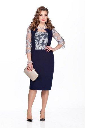 Платье Платье TEZA 234 т-синий  Состав ткани: Вискоза-20%; ПЭ-80%;  Рост: 164 см.  Платье приталенного силуэта с втачными рукавами. Спинка со средним швом с молнией, внизу шлица. Перед с фигурными ре