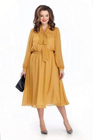 Платье Платье TEZA 144 горчица  Рост: 164 см.  Платье приталенного силуэта из прозрачной ткани. Платье отрезное по линии талии. Верх переда и спинки на прямоугольной кокетке со сборкой. Низ рукава со