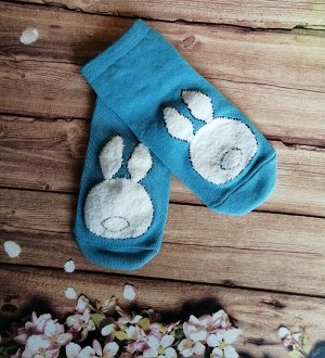 """Синие носочки """"Белый зайка"""""""