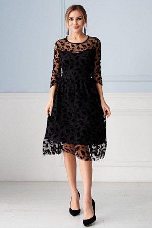 Платье Изольда черные перышки (П-140-14)