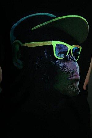 Лонгслив Цвет: черный; Состав: Хлопок 92% лайкра 8%; Материал: Кулирка с лайкрой Принта на данном лонгсливе выполнен специальной краской, которая светится при ультрафиолетовом свете! На школьных диско