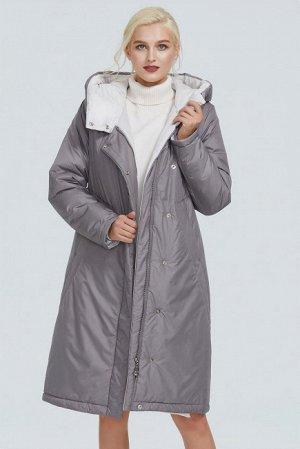 Зимний женский пуховик с капюшоном и контрастным подкладом, цвет серый