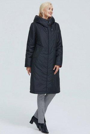 Зимний женский пуховик с капюшоном и контрастным подкладом, цвет черный