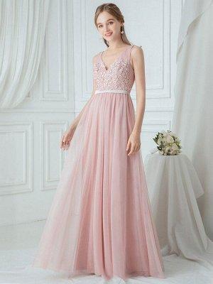 Нежное розовое длинное вечернее платье