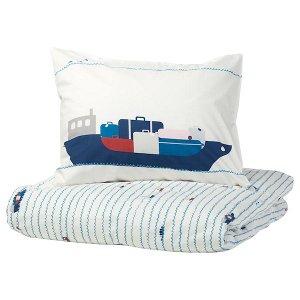 УППТОГ Пододеяльник и 1 наволочка, орнамент «волны/корабли», синий, 150x200/50x70 см