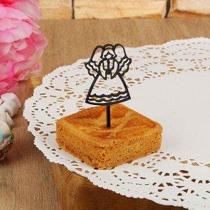 """Топпер на пирожное """"Ангел"""" 8 шт, цвет черный"""