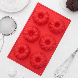 """Форма для выпечки 6 ячеек """"Немецкий кекс.Торт"""" 29х18х4 см, цвет МИКС"""