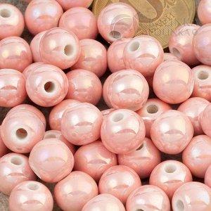 Бусины керамические круглые розовые, р-р. 8мм. отв. 2мм.