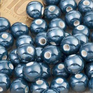 Бусины керамические круглые темно-синие, р-р. 8мм. отв. 2мм.