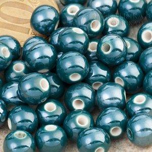 Бусины керамические круглые сине-зеленые, р-р. 8мм. отв. 2мм.