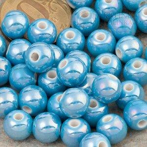 Бусины керамические круглые светло-синие, р-р. 8мм. отв. 2мм.