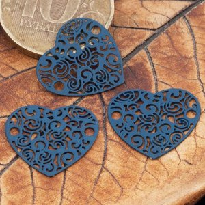 Коннектор Сердце 1/1 из хир. стали, цвет темно-серый, р-р 20х18х0,3мм, отв. 2мм.