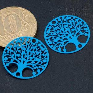 Коннектор Дерево в круге-3 1/1 из хир. стали, цвет синий, р-р 20х0,3мм, отв. 2мм.