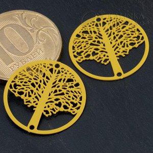 Коннектор Дерево в круге-4 1/1 из хир. стали, цвет горчичный, р-р 20х0,3мм, отв. 1мм.