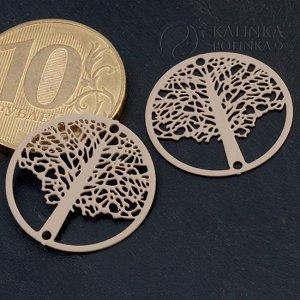 Коннектор Дерево в круге-4 1/1 из хир. стали, цвет бежевый, р-р 20х0,3мм, отв. 1мм.