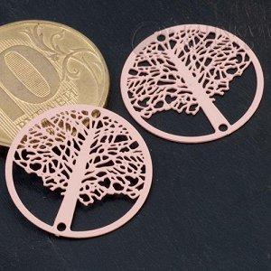 Коннектор Дерево в круге-4 1/1 из хир. стали, цвет светло-розовый, р-р 20х0,3мм, отв. 1мм.