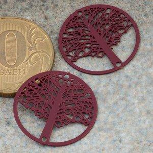 Коннектор Дерево в круге-4 1/1 из хир. стали, цвет бордовый, р-р 20х0,3мм, отв. 1мм.