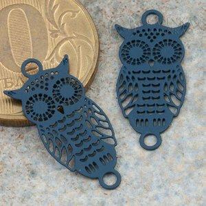 Коннектор Сова мини 1/1 из хир. стали, цвет темно-синий, р-р 22х10х0,3мм, отв. 2мм.