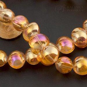 Бусины стеклянные Чешские овальные оранжевые радужные, 16х11х6мм, отв. 1мм.