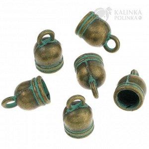 Концевики для шнура, сплав, цвет бронза с патиной, 12х7,5мм, отв. 2,5мм и 6мм.