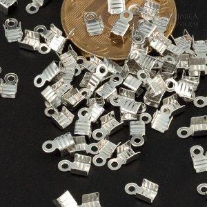 Концевики для тонких шнуров, железо, цвет платина, ширина 3мм, отверстие 1.5мм
