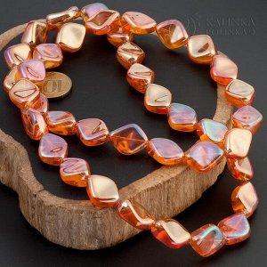 Бусины стеклянные Чешские, ромбовидные, оранжевые, радужные, р-р 20х16х10мм, отв-е 1мм.