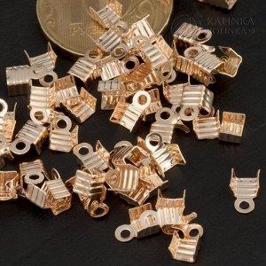 Концевики для тонких шнуров, железо, цвет русское золото, ширина 4мм, отв. 1.5мм, ОПТ Концевики для тонких шнуров, железо, цвет русское золото, ширина 4мм, отв. 1.5мм