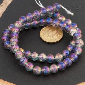 Бусины стеклянные с эффектом кракле серые с фиолетовым напылением, диам. 8мм, отв. 1мм.