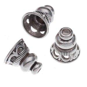 Шапочки-концевики, подходят для кисточек, р-р 13х12мм, отв-я 3мм и 9мм, ювелирный сплав, цвет винтажное серебро.