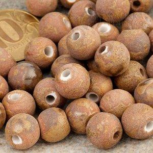 Бусины керамические состаренные коричневые, р-р. 11мм. отв. 2мм.