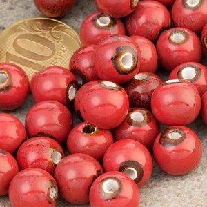Бусины керамические круглые красные, р-р. 11мм. отв. 2мм.